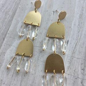 Clear Vintage Glass Long Brass Post Earrings